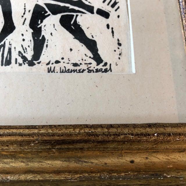 Art Deco Vintage Original Woodblock Print Horned Jazz Band Signed For Sale - Image 3 of 6
