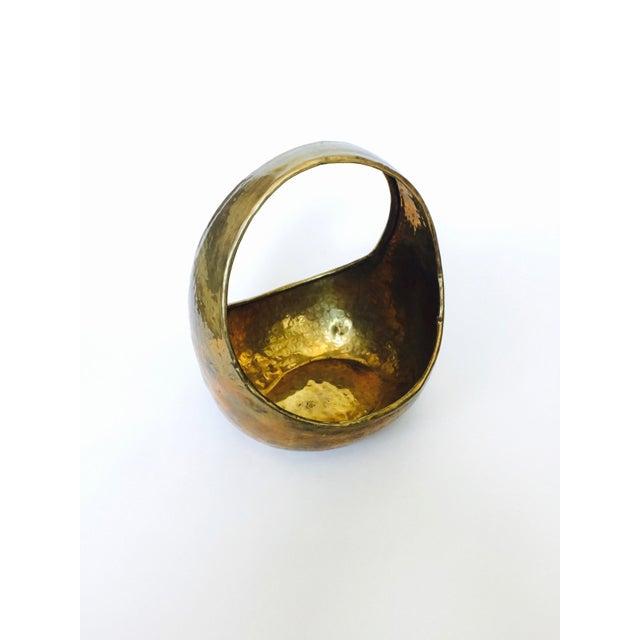 Vintage Hammered Brass Basket - Image 3 of 6