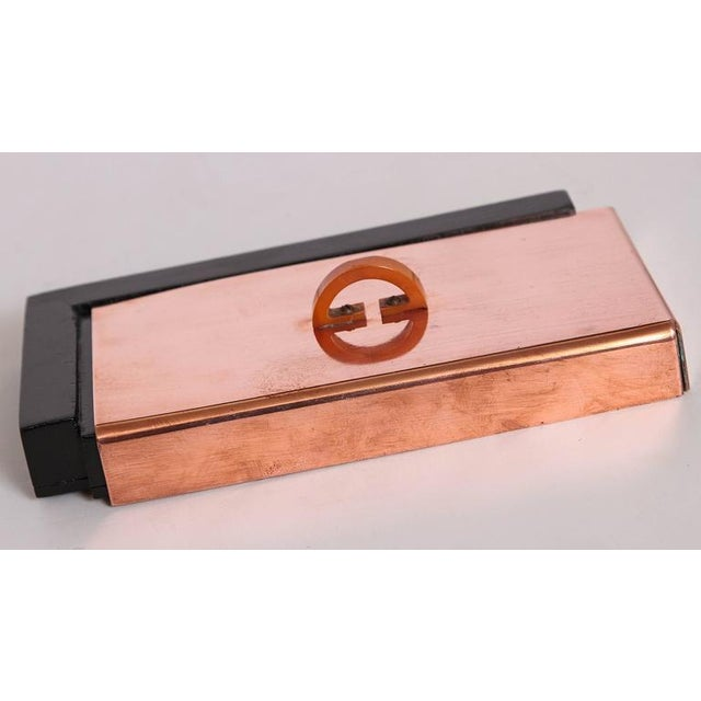 1930s Machine Age Art Deco Asymmetric Covered Box in Copper, Catalin and Lacquer For Sale - Image 5 of 11