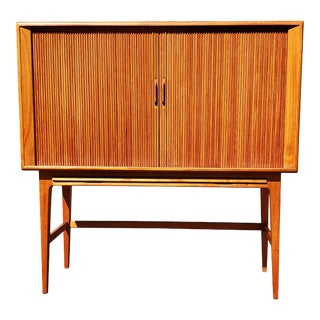 A Danish Modern Kurt Ostervig Tamboor Door Teak Wood Dry Bar For Sale