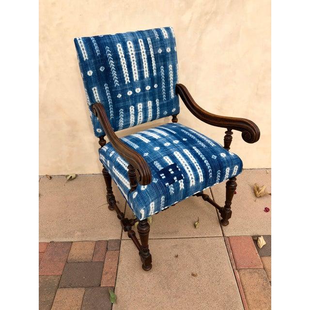 Antique Jacobean-Style Mahogany Mali Indigo Upholstered Armchair - Image 10 of 11