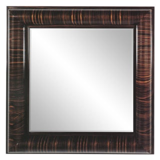 Art Deco Style Macassar Ebony Wood Mirror by Lucien Rollin for William Switzer For Sale
