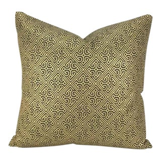Nina Campbell Belzoro Filigrane Gold Fretwork Pattern Pillow Cover For Sale