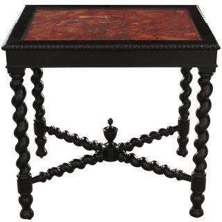 19th Century Italian Ebony Table with Scagliola Top For Sale