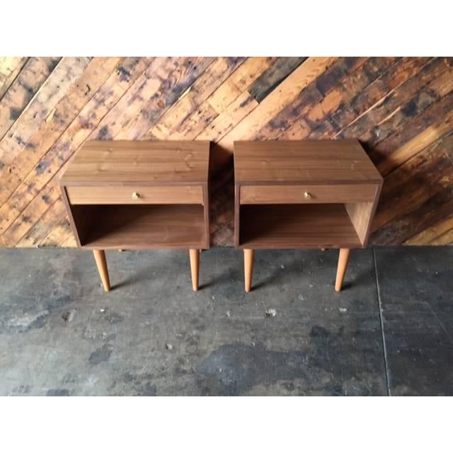 Mid-Century Modern Custom Mid Century Style Walnut Nightstands - a Pair For Sale - Image 3 of 5