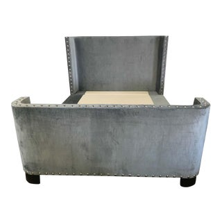 Queen-Size Grey Velvet Bed Frame