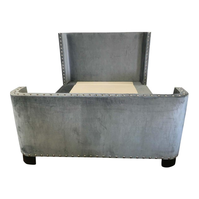 Queen-Size Grey Velvet Bed Frame For Sale