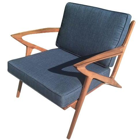 Modern Walnut Z-Lounge Chair For Sale