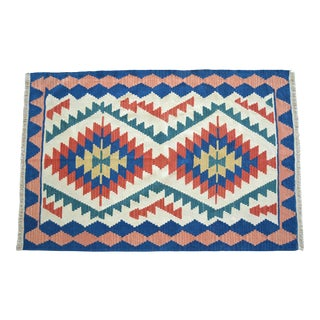 1980s Vintage Hand Woven Turkish Rug Flat Weave Wool Area Kilim Oushak Rug For Sale