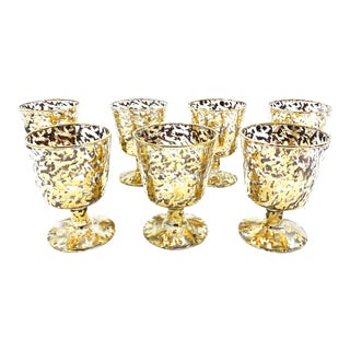 Vintage Mid Century Set of 7 22kt Gold Speckled Stemmed Wine Goblets, by Federal Glass Company For Sale