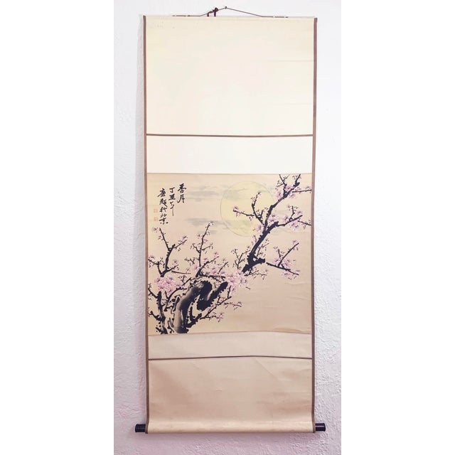 1950s Vintage Cherry Blossom and Moon Chinese Hanging Silk and Paper Scroll For Sale - Image 13 of 13