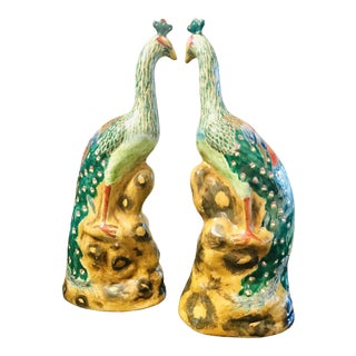 Ceramic Phoenix Bird Figurines - a Pair For Sale