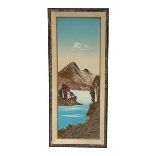 Vintage Japanese 3D Landscape Scene Mixed Media Painting For Sale