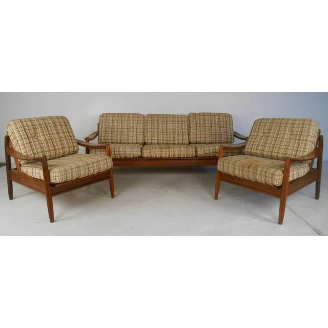 Brown Scandinavian Modern Sofa and Chairs For Sale - Image 8 of 8