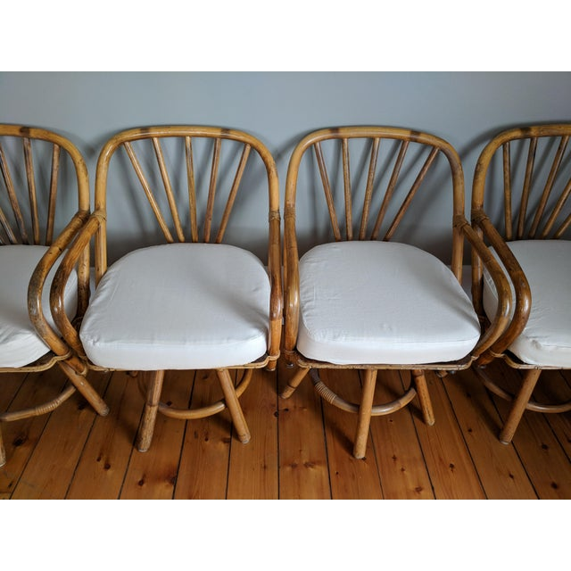 Swivel Bamboo Armchairs - Set of 4 For Sale - Image 11 of 13