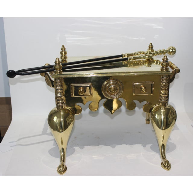 Brass 19c Fireplace Accesories - Brass Tea Kettle Heater With Its Log Tool For Sale - Image 8 of 13