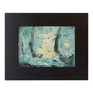 1960s Abstract Expressionist Nautical Oil Painting, Framed For Sale