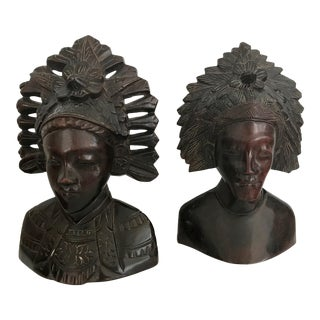 Vintage Balinese Rosewood Man and Woman Sculptures - A Pair