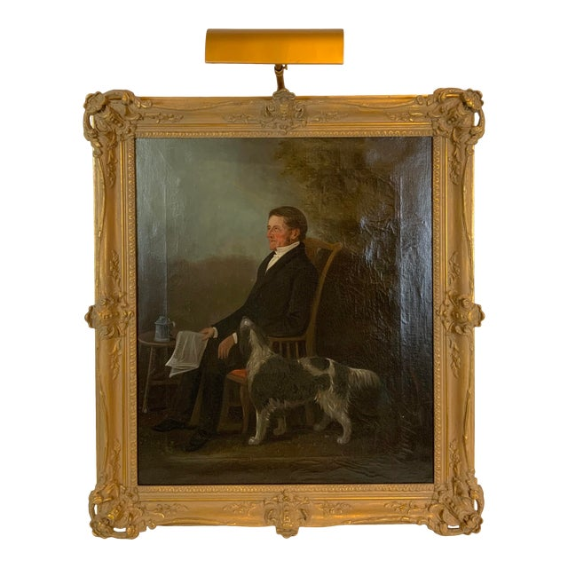 19th Century Portrait of a Distinguished Gentleman with Dog Oil Painting, Framed For Sale