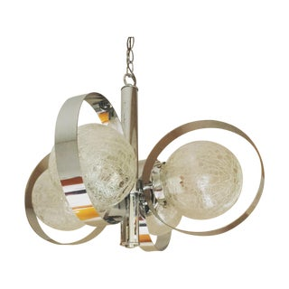 Chrome and Crackled Glass Globe Chandelier For Sale