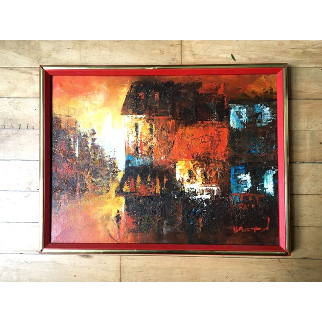 Brown Mid Century Modern Oil on Canvas Cityscape by Edward Barton For Sale - Image 8 of 9