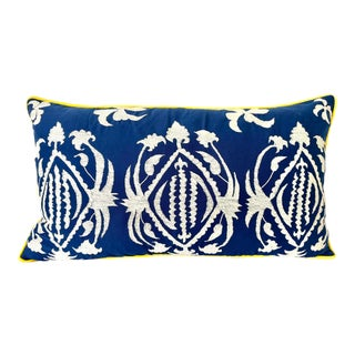 Vintage Embroidered Marine Blue & White Samarkand Lumbar Pillow For Sale