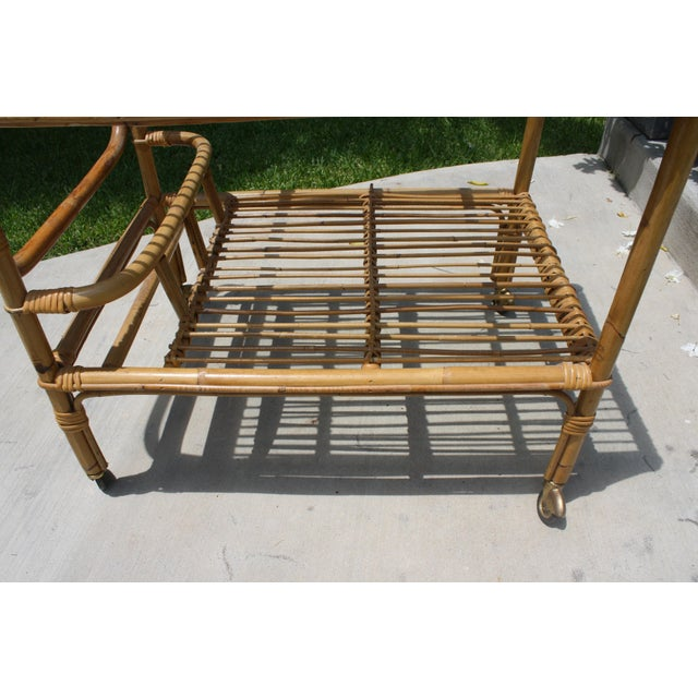 Vintage Bamboo and Rattan Bar Cart / Tea Cart For Sale - Image 4 of 8