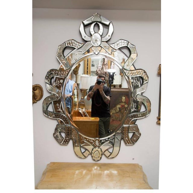 Black Venetian Etched Ribbon Design Wall Mirror For Sale - Image 8 of 9