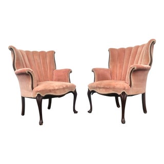 Early 20th Century Pink Velvet Scalloped Back Side Chairs- a Pair For Sale