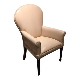 Leathercraft Ivory Leather Ophelia Side Chair For Sale