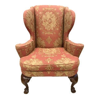 English Chippendale Carved Mahogany Wingback Chair For Sale