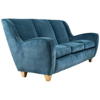 Mid-Century Italian Poltrona Frau Velvet Sofa For Sale