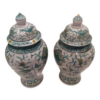 Vintage Green Asian Oriental Greek Key Hollywood Regency Ginger Jars - a Pair For Sale