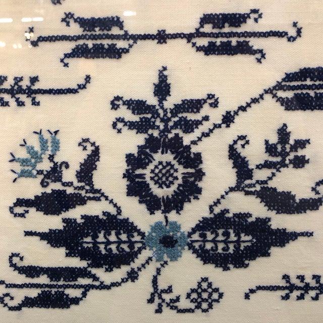 Boho Chic Blue and White Framed Needlepoint Textile Art For Sale - Image 3 of 7