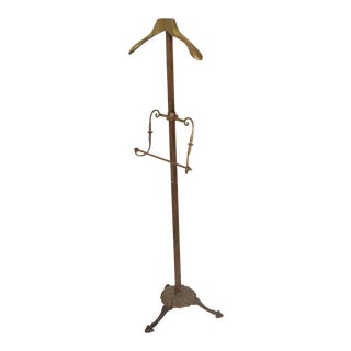 Brass Gentleman's Valet Hollywood Regency Era Coat Rack For Sale