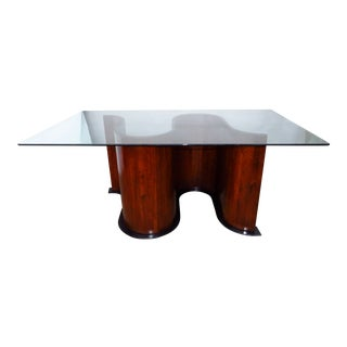 20th Century Wood & Glass Dining Table For Sale
