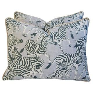 Custom Safari Zebra Linen & Velvet Feather/Down Pillows - a Pair For Sale