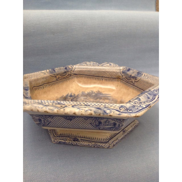 Antique Blue and White Transferware Dish With Lid For Sale In Birmingham - Image 6 of 13