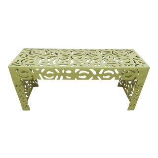 Contemporary Pistachio Iron Patio/Garden Bench For Sale