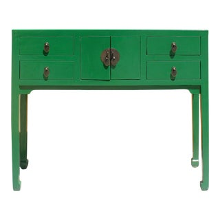 Chinese Semi Gloss Green Wood Plain 4 Drawers Side Table For Sale