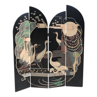 Art Deco Ebony Wood 4 Panel Screens Flowers And Bird Landscape Circa 1950s