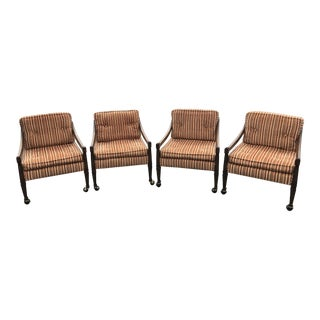 Mid Century Velvet Upholstered Dining Chairs on Casters - Set of 4 For Sale