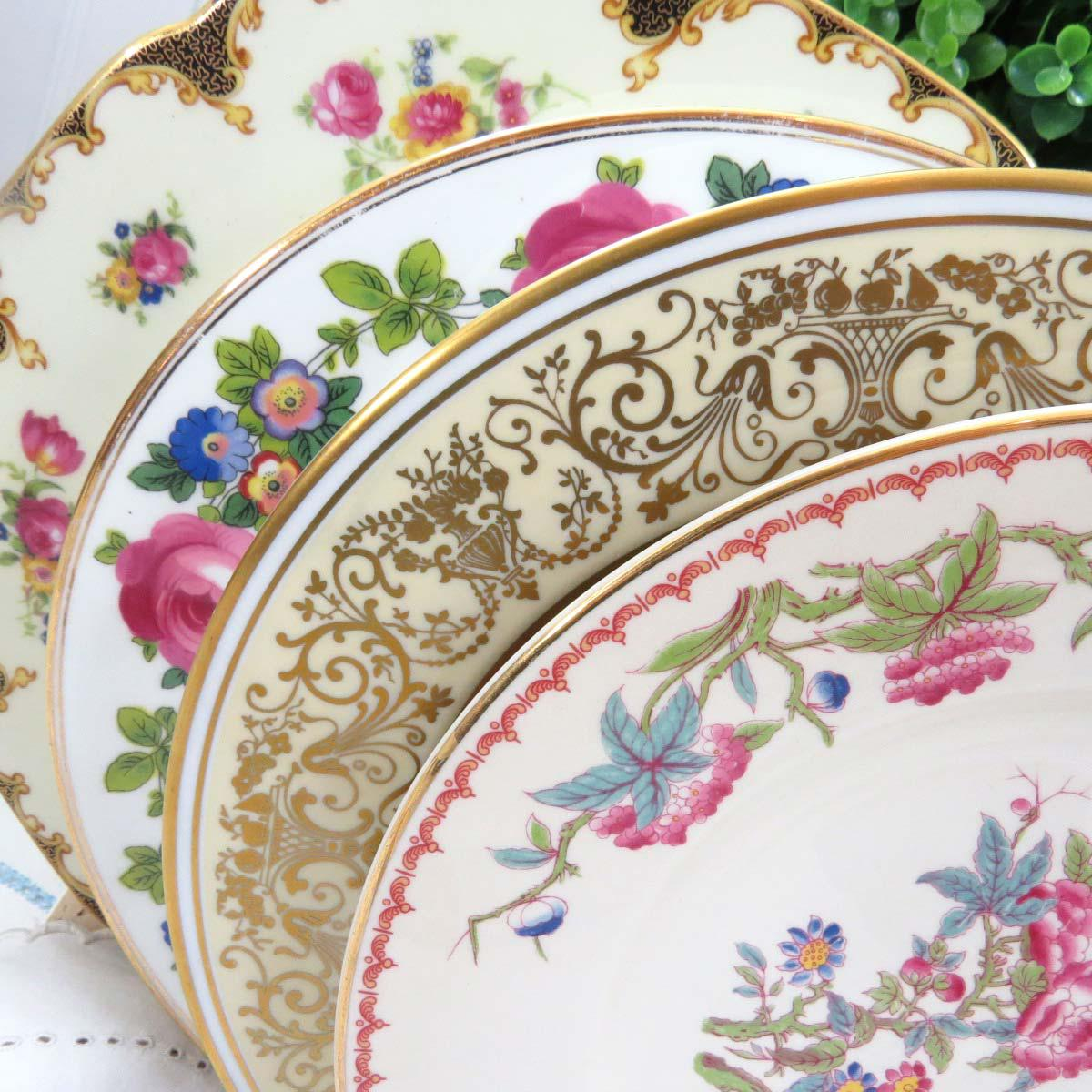 Vintage Mismatched Fine China Dinner Plates - Set of 4 - Image 2 of 10 & Vintage Mismatched Fine China Dinner Plates - Set of 4 | Chairish