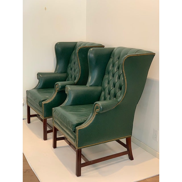 Traditional Vintage Mid Century Hancock & Moore Emerald Green Leather Wing Chairs- A Pair For Sale - Image 3 of 10