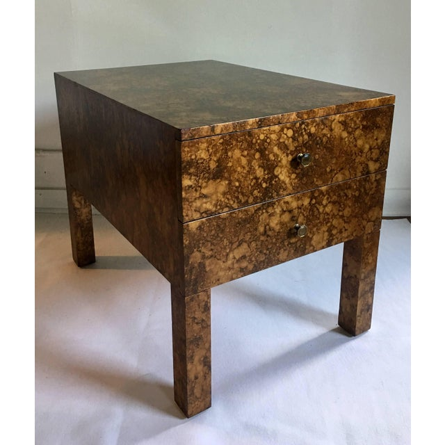 Mid-Century Modern Parsons-style side or end table. This rectangular shaped two drawer wood accent table features a hand-...