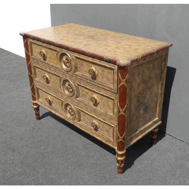 1990s Vintage Maitland Smith Beige & Gold Ornate 3 Drawer Chest ~ Hollywood Regency Dresser For Sale - Image 5 of 13