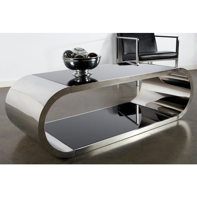 Modern 2 tiers chrome stainless steel coffee table with black glass NO CUSTOM ORDERS. Sold as it is.