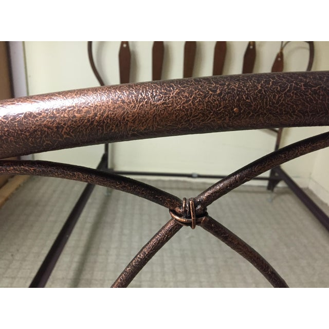Native American Inspired Metal Wood Leather Full Bed - Image 5 of 10