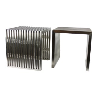 Milo Baughman Style Slat Brushed Steel and Lucite Side Tables/Benches - a Pair For Sale