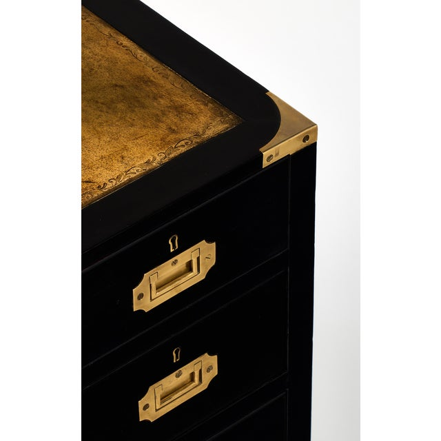 English Campaign Style Ebonized Mahogany Side Tables- A Pair - Image 7 of 10